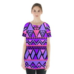 Seamless Purple Pink Pattern Skirt Hem Sports Top