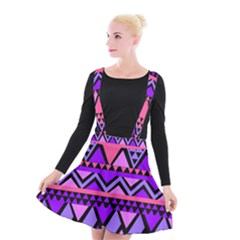 Seamless Purple Pink Pattern Suspender Skater Skirt