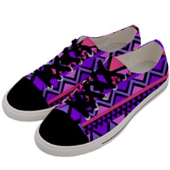 Seamless Purple Pink Pattern Men s Low Top Canvas Sneakers by Sapixe