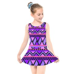 Seamless Purple Pink Pattern Kids  Skater Dress Swimsuit