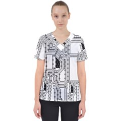 Seamless Pattern Texture Background Women s V Neck Scrub Top