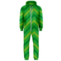 Green Background Abstract Hooded Jumpsuit (men)