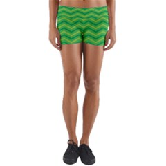 Green Background Abstract Yoga Shorts