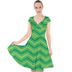 Green Background Abstract Cap Sleeve Front Wrap Midi Dress