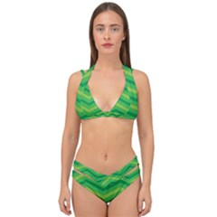 Green Background Abstract Double Strap Halter Bikini Set