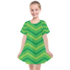 Green Background Abstract Kids  Smock Dress by Sapixe