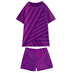 Pattern Lines Stripes Texture Kids  Swim Tee And Shorts Set by Sapixe
