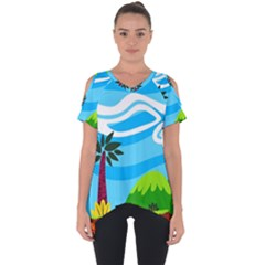 Landscape Background Nature Sky Cut Out Side Drop Tee by Sapixe