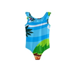 Landscape Background Nature Sky Kids  Frill Swimsuit