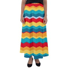 Retro Colors 60 Background Flared Maxi Skirt