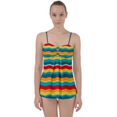 Retro Colors 60 Background Babydoll Tankini Set