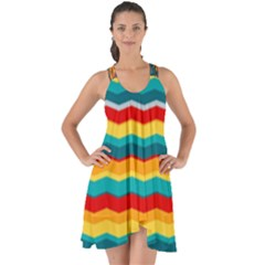 Retro Colors 60 Background Show Some Back Chiffon Dress
