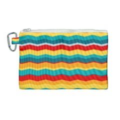 Retro Colors 60 Background Canvas Cosmetic Bag (large)