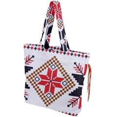 Ornament Stars Textile Crochet Drawstring Tote Bag