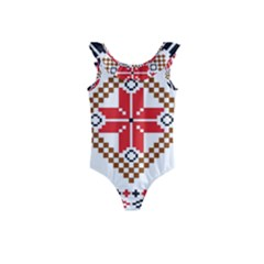 Ornament Stars Textile Crochet Kids  Frill Swimsuit