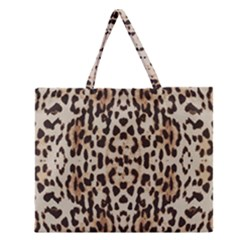 Pattern Leopard Skin Background Zipper Large Tote Bag
