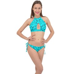 Pattern Flowers Flower Texture Cross Front Halter Bikini Set
