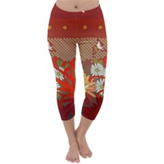 Abstract Background Flower Design Capri Winter Leggings  by Sapixe