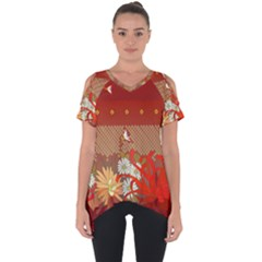 Abstract Background Flower Design Cut Out Side Drop Tee