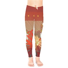 Abstract Background Flower Design Kids  Legging by Sapixe