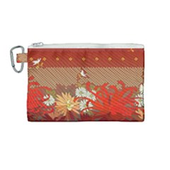 Abstract Background Flower Design Canvas Cosmetic Bag (medium)