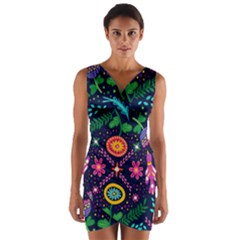 Pattern Nature Design Patterns Wrap Front Bodycon Dress