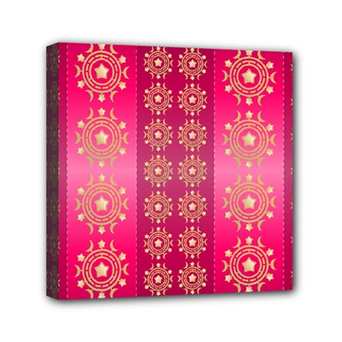 Background Pattern Pink Wallpaper Mini Canvas 6  X 6  (stretched)