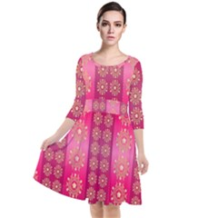 Background Pattern Pink Wallpaper Quarter Sleeve Waist Band Dress