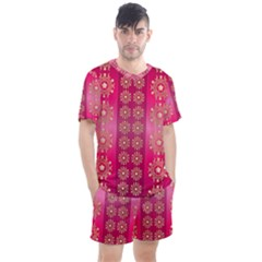 Background Pattern Pink Wallpaper Men s Mesh Tee And Shorts Set