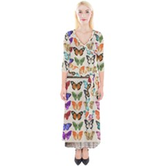 Butterfly 1126264 1920 Quarter Sleeve Wrap Maxi Dress