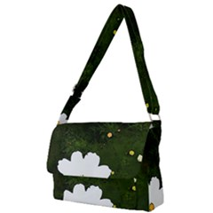 Daisies In Green Full Print Messenger Bag