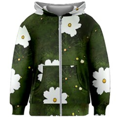 Daisies In Green Kids Zipper Hoodie Without Drawstring