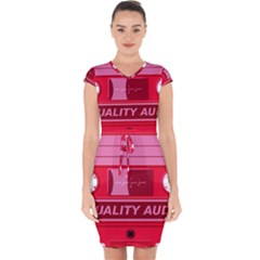 Red Cassette Capsleeve Drawstring Dress