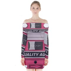 Pink Cassette Long Sleeve Off Shoulder Dress