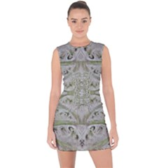 Broccoli Tree Green Lace Up Front Bodycon Dress