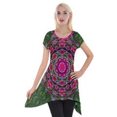 Fantasy Floral Wreath In The Green Summer  Leaves Short Sleeve Side Drop Tunic