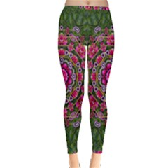 Fantasy Floral Wreath In The Green Summer  Leaves Inside Out Leggings