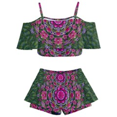 Fantasy Floral Wreath In The Green Summer  Leaves Kids  Off Shoulder Skirt Bikini by pepitasart