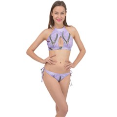 Cute Little Pegasus With Butterflies Cross Front Halter Bikini Set by FantasyWorld7