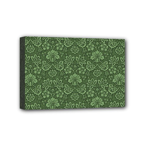 Damask Green Mini Canvas 6  X 4  (stretched) by vintage2030