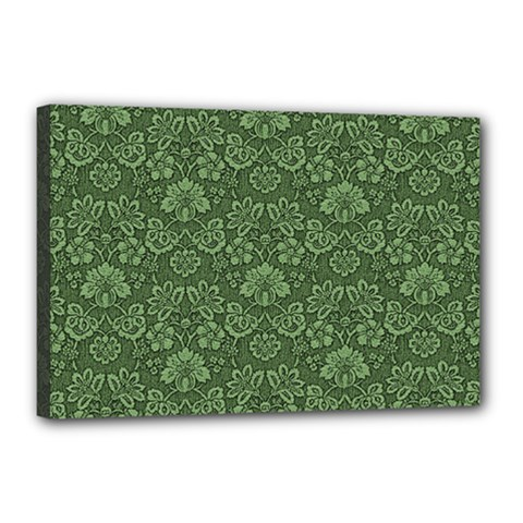 Damask Green Canvas 18  X 12  (stretched) by vintage2030