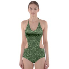 Damask Green Cut-out One Piece Swimsuit by vintage2030