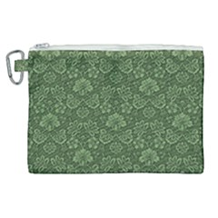 Damask Green Canvas Cosmetic Bag (xl) by vintage2030
