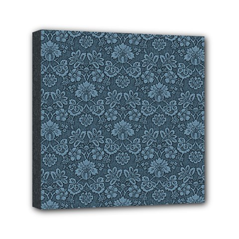 Damask Blue Mini Canvas 6  X 6  (stretched) by vintage2030