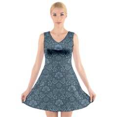 Damask Blue V Neck Sleeveless Dress