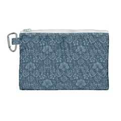 Damask Blue Canvas Cosmetic Bag (large) by vintage2030