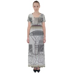 Vintage 979514 1280 High Waist Short Sleeve Maxi Dress