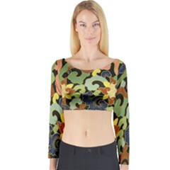 Abstract 2920824 960 720 Long Sleeve Crop Top by vintage2030