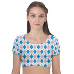 Argyle 316838 960 720 Velvet Short Sleeve Crop Top