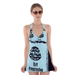 Liftarn Old Can Brown Halter Dress Swimsuit
